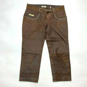 Moschino Jeans Donna Leather Cropped Pants Brown